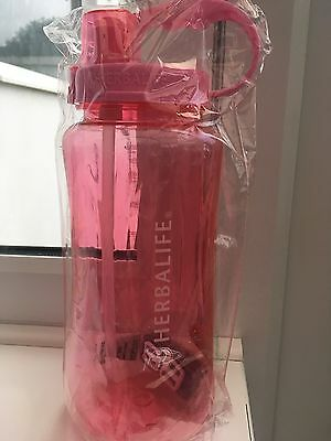 Herbalife 2lt Sports Water Bottle With Straw Exercise Fitness Pink