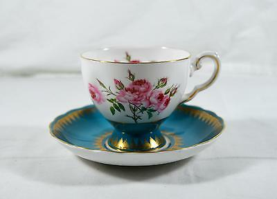 Beautiful Vintage Royal Tuscan Cup & Saucer - Blue With Gold & Roses - England