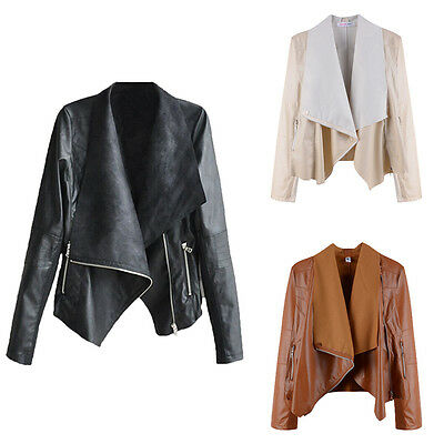 COOL! Women's PU soft Leather Motorcycle Zipper collar Coat Biker Jacket Outwear