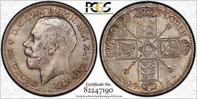 Great Britain 1916 Florin Gem Uncirculated Toned Pcgs Ms65 S-4012 Amazing Coin !