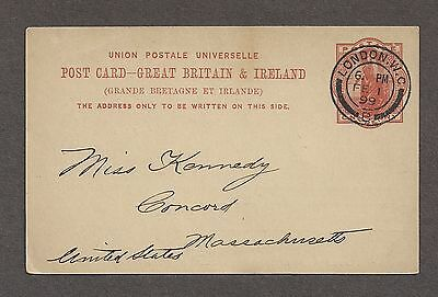 Great Britain 1899 UPU One Penny Postal Card London to Concord MA