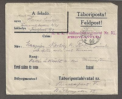 Hungary 1916 Stampless German Military Post to Budapest