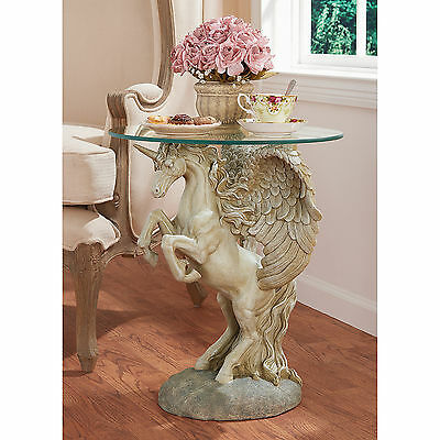 Unicorn Mythical Magic Animal Creature Horse Unique Furniture Glass Top Table
