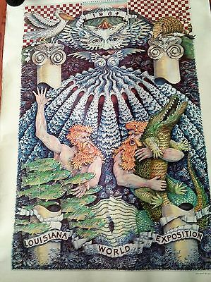 Vintage Rare 1984 World's Fair World Of Rivers Old Poster New Orleans La