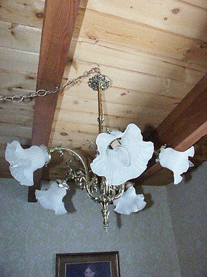 Antique Chandelier/  French Brass Light Fixture