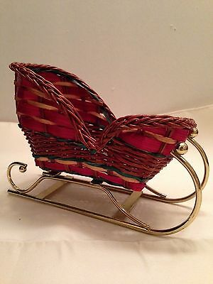 Wicker Basket Weave Christmas Sleigh Metal Runners Holiday Container Floral Gift