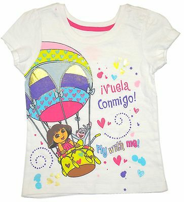 Dora Explorer Fly With Me! Hot Air Balloon Top T-Shirt Toddler Girls 2T 3T 4T