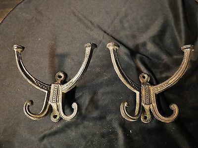 PAIR Antique Victorian Cast Iron COAT HOOKS Hat Rack steampunk