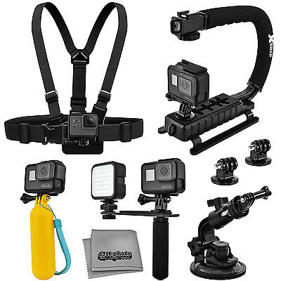 10PC Adventurer Accessory Kit for GoPro HERO 5 4 / Session / Compatible Cameras