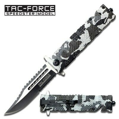 Tac-force Assisted Opening Sawback Bowie Rescue Camo Glass Breaker Knife New!!!""