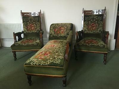 Antique Tapestry Lounge Suite 7 Piece Vintage