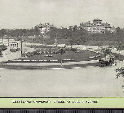 1904 Cleveland University Circle at Euclid Ave Case Singer Sewing photo Ad Card