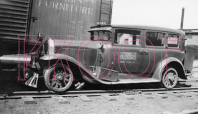 Pere Marquette (PM) Rail Inspection Car 2 at Wyoming Yards in 1937 - 8x10 Photo