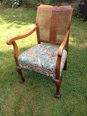 Antique Art Nouveau Bergere Elbow Carver Chair, Ball and Claw Feet Reupholstered