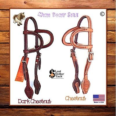 Mini Pony/shetland Western Headstall Premium Grain & Baby Basket Tooled Leather