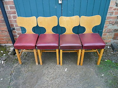 Four Vintage Mid Century 1960's Butterfly Teak Kitchen Dining Chairs (not Ercol)