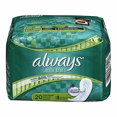3 Pack Always Ultra Thin Long Super Pads 20 Count Each