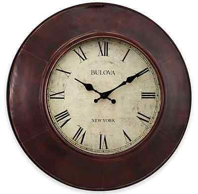 Aged Bronze Wall Clock, Rustic Office Home Vintage Charm Art Decor Roman Numeral