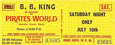 B.b. King 1971 The Thrill Is Gone Tour Unused Concert Ticket
