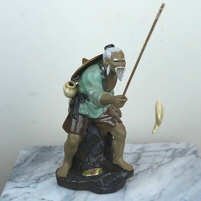 "Chinese Old Fisherman Porcelain Figurine from China 8""H"
