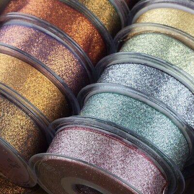54 TYPES Berisford Dazzle Ribbon 10 15 25mm. Sparkle Glitter Metallic Lame
