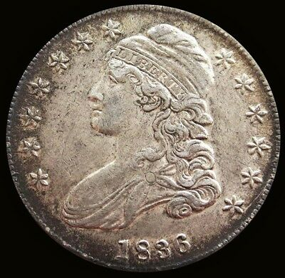1836 Silver Capped Bust Half Dollar Lettered Edge About Uncirculated Overton 101