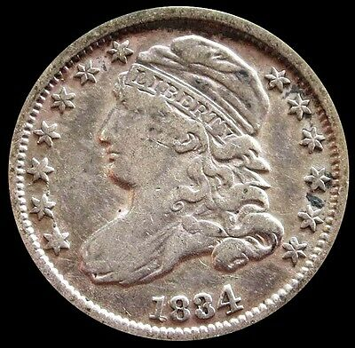 1834 Silver United States Capped Bust Dime Coin Very Fine Condition