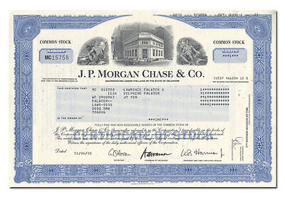 J. P. Morgan Chase & Co. Stock Certificate