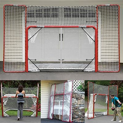 EZ Goal Steel Folding Hockey Goal with Backstop & Targets Red/White