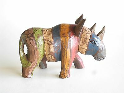 Wooden Hand Carved RUSTIC Rhino 20cm.....
