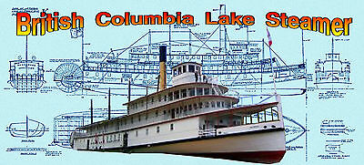"""Build a 30"""" 1:72 Scale British Columbia Lake Steamer full size Printed Plans"""