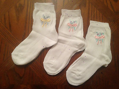 3 x Baby Special Occasion Kids White Embroidery Ankle Socks 3-5.5 Free Delivery