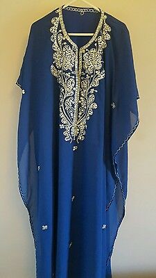 Royal blue Silver Sequin Sequenced Detail Farasha Maxi Dress Kaftan Abaya New