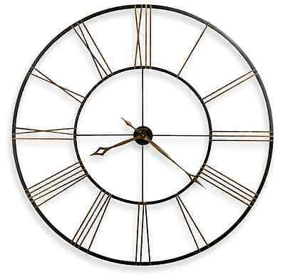 Large Antique Style Wall Clock Rustic Black Office Home Art Decor, Iron Huge 49""