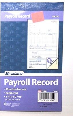 Adams Employee Payroll Record Book, 4.19 x 7.19 Inches, White and Canary,