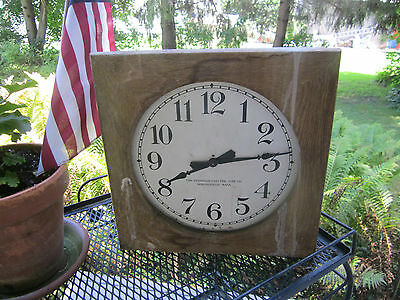 Primitive wood  school clock/Standard Time Co. Springfield Mass. Large