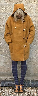 Vintage 1980s Icelandic Mountain Lamb Fur Lined Hooded Duffel Coat S M MINT