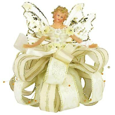 "Angel Christmas Tree Topper Top 7.5"" Tall Ivory Gold Dress Blonde Hair"