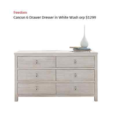 freedom Cancun 6 Drawer Dresser in White Wash orp $1299