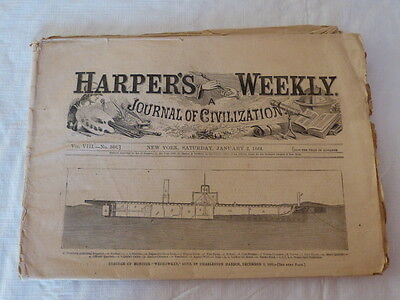 Harper's Weekly 1-2-1864 Issue Civil War Monitor Sunk Missionary Ridge Mine Run