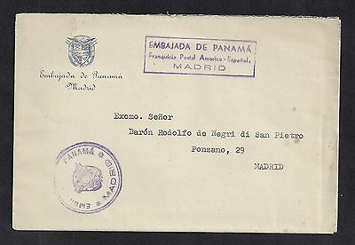 Panama 1953 Stampless Diplomatic Cover Spanish Embassy to Madrid with Letter