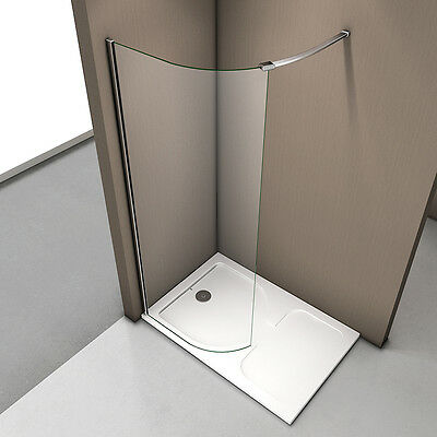 New Wet Room Shower Enclosure Curved Screen and Tray Walk In 6mm Tempered Glass