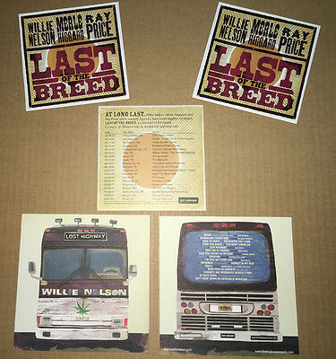 WILLIE NELSON/MERLE HAGGARD/RAY PRICE Last of the Breed 2 PROMO STICKERS+2 CARDS