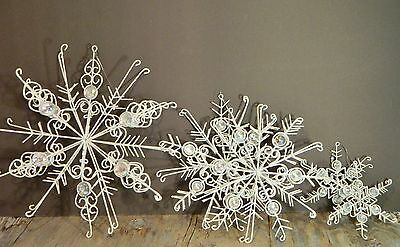 Glittery SnowFlake/3-D/White/Metal/Beads/Large Ornaments/Winter/Holiday Decor/ 5