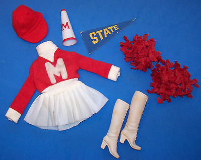 Vintage Francie Doll #7711 Mod Cheerleader 1973 Red Hat White Boots Pom Pons