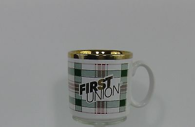 Vintage First Union Bank Adverting Coffee Mug Cup Tams New England Collectible