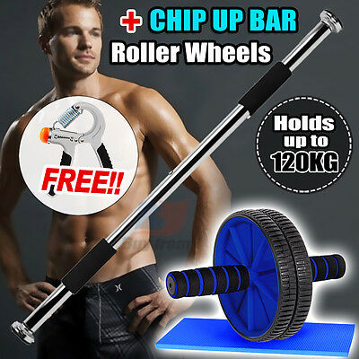 Door Gym Chin Up Bar And AB Wheel Roller Wheel Knee Pad- Free (Power Hand Grip)