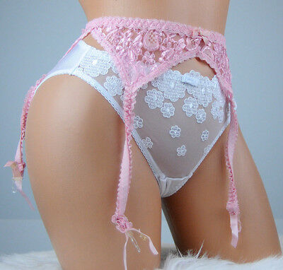 VTG Trendsetters Pink Lacy Sissy Sexy Frilly Hold Up 4 Strap Garter Belt sz S