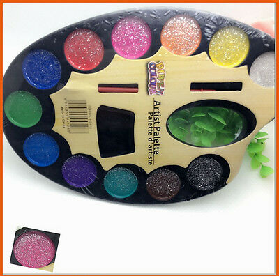 12 Colors Pigment Art Watercolor Paint Kit Tool Set Opaque Solid + Water Brush