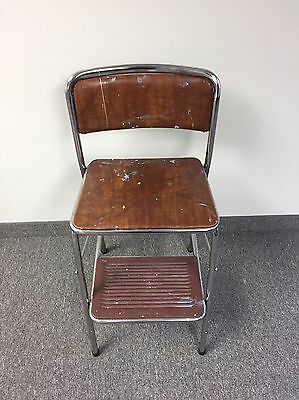 Vintage Mid Century Cosco Step Stool Kitchen Chair Fold Up